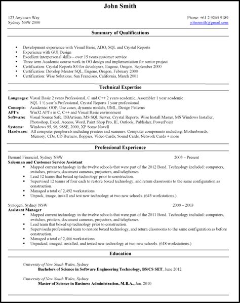Resume Format Australia Sample by Samples Australian Resumes