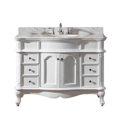 White Marble Vanity Top by Virtu Usa Norhaven 48 In Vanity In White With Marble