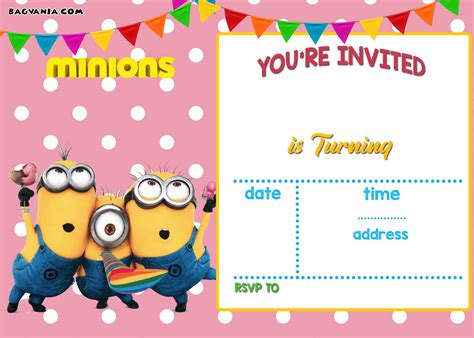 printable minion birthday invitation templates  printable birthday invitation