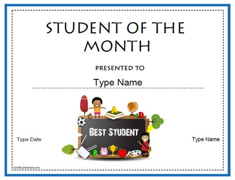 free student of the month certificate templates certificate free award certificate templates no