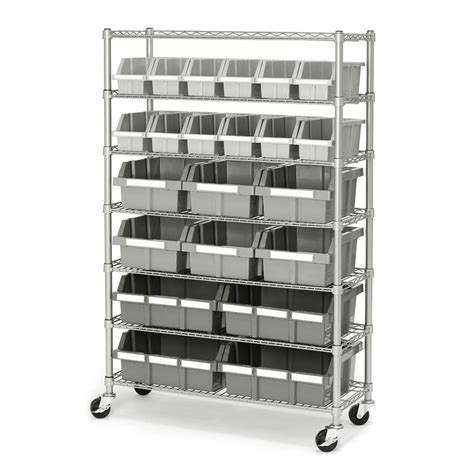 industrial rolling racks commercial industrial garage 22 bin storage shelving