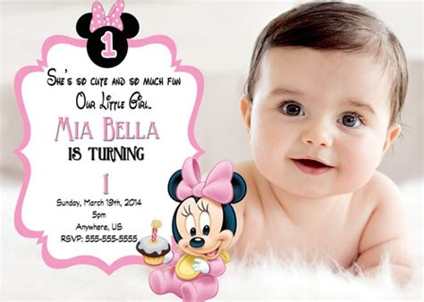 baby minnie mouse birthday invitations free printable minnie mouse 1st birthday invitations