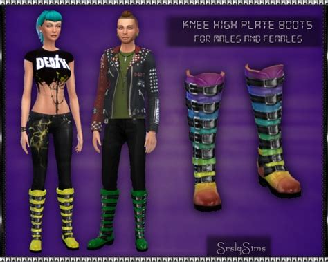 knee high plate boots by srsly sims sims 4 nexus