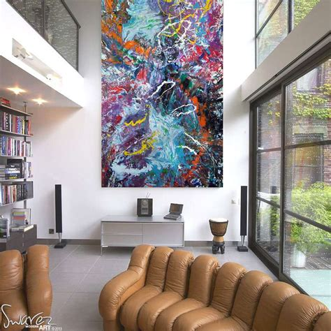 large size multi coloured painting sold defying gravity