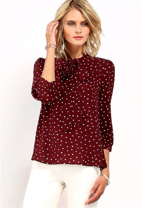 Polka Dot Blouse With Tie by Polka Dot Print Tie Neck Top Shop Blouse Shirts At