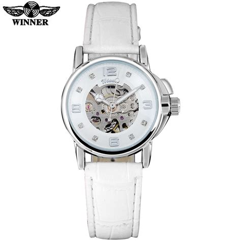 Winner Skeleton Leather Automatic Mechanical Watc Diskon winner brand watches skeleton mechanical white