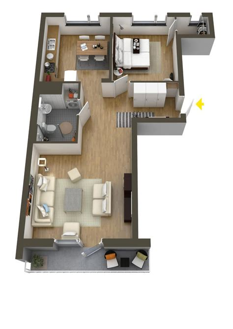 Home Layout Design with 40 More 1 Bedroom Home Floor Plans