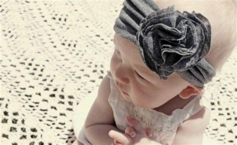 diy jersey knit headband baby flower and bands on