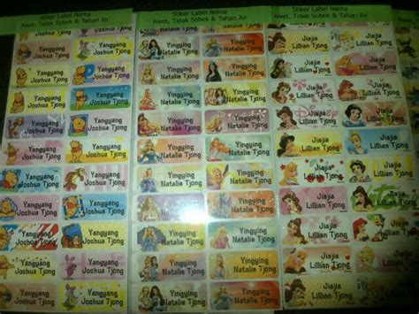 Label Nama Waterproof Stiker Anti Air Badzmaru 1 harga sticker nama waterproof disney tsum tsum label nama waterproof id priceaz