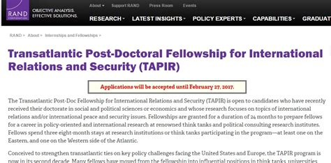 Doctorate In Security by Transatlantic Post Doctoral Fellowship For International