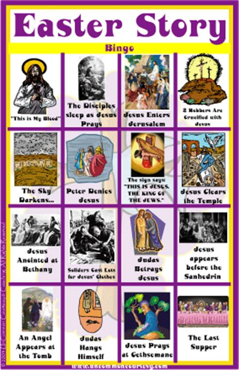 printable children s version of the easter story easter story bingo uncommon courtesy