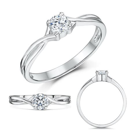 9ct white gold third carat solitaire crossover