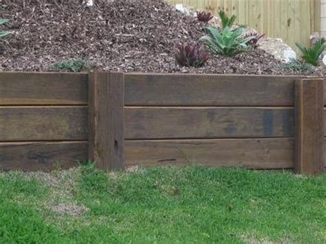 Diy Retaining Wall Sleepers by How To Build A Retaining Wall Timber Sleeper Retaining