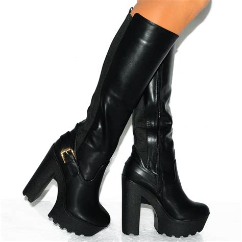 black high heel knee high boots black pu leather platform block high heel platform