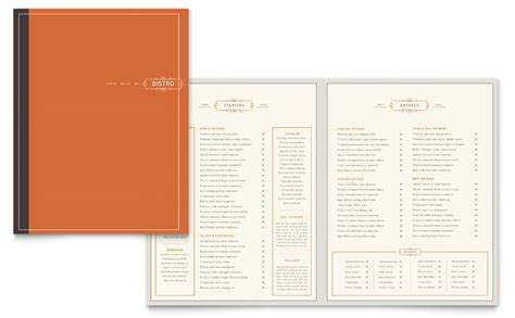 bistro bar menu template word publisher