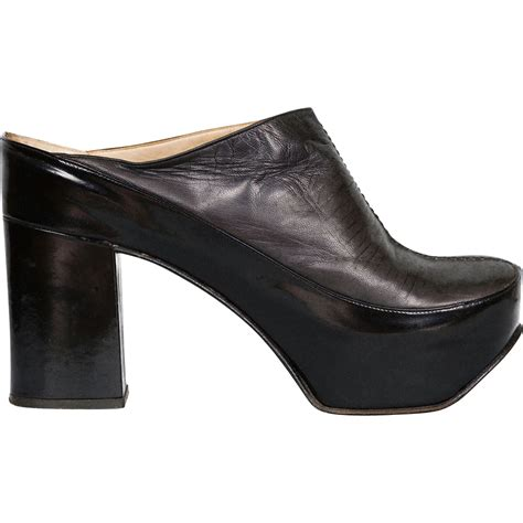 vintage 60s womens mule platform shoes high heel clog