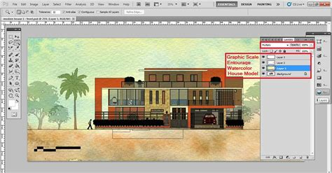 Architectural Elevation: digital watercolor effect for