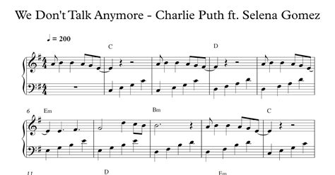 charlie puth we don t talk anymore chord play popular music we don t talk anymore charlie puth