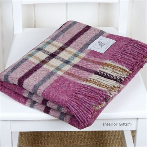 Wool Blankets And Throws by Bronte Wool Throw Shetland Arncliffe Berry Green 100