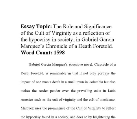 Chronicle Of A Foretold Essay chronicle of a foretold essay topics