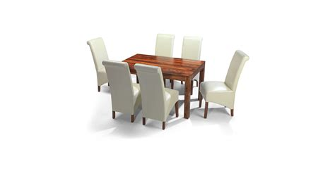 cuba sheesham 140 cm dining table and 6 chairs lifestyle