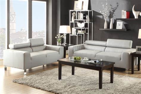 Sofa Sets by F7265 Sofa Loveseat Set Light Grey Bonded Leather By Poundex