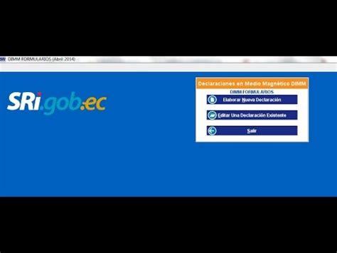 descargar programa dimm formularios sri 2015 c 243 mo instalar el dimm formularios del sri ecuador youtube
