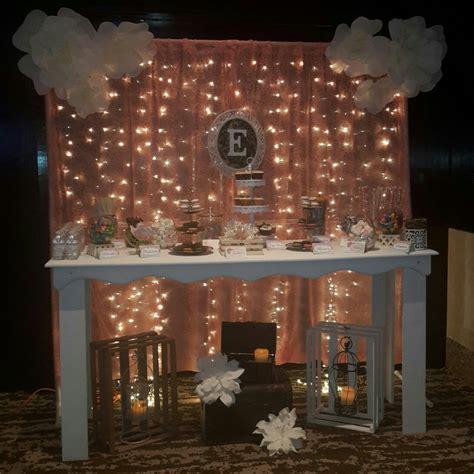 cortinas con luces mesa de candy bar con backdrop de cortina de luces tela y