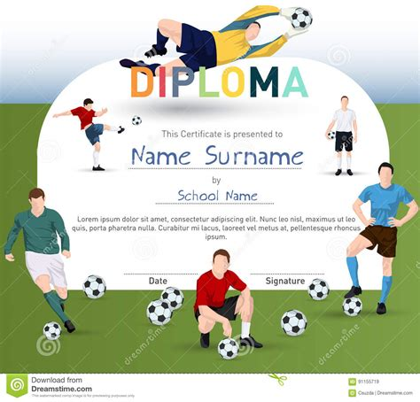 soccer player id cards templates football themed certificate template stock vector