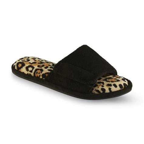 leopard slippers dearfoams s halley black leopard print slide slipper