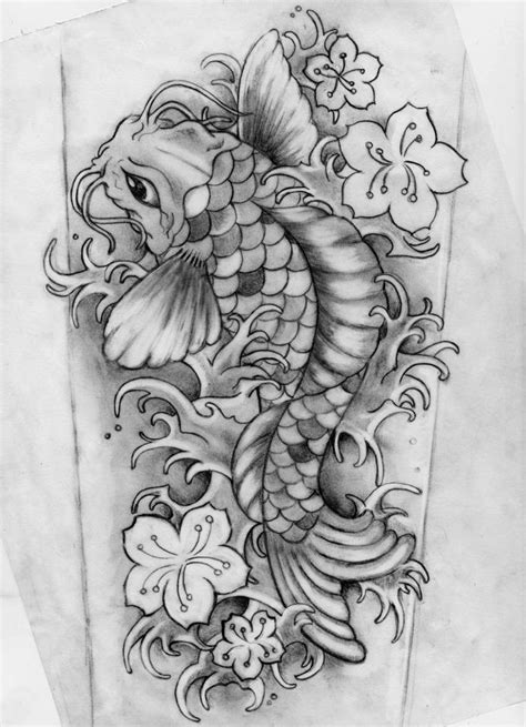 black and grey koi fish tattoo designs and black koi design by gaikotsu91
