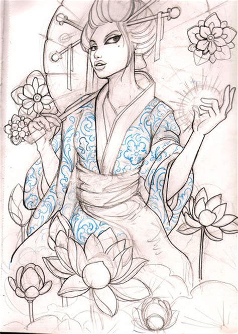 tattoo geisha sketch geisha 10 sketch by mojoncio on deviantart