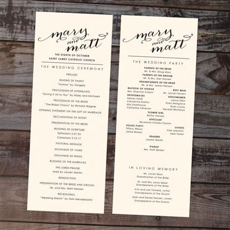 15 must see wedding ceremony program template pins fun