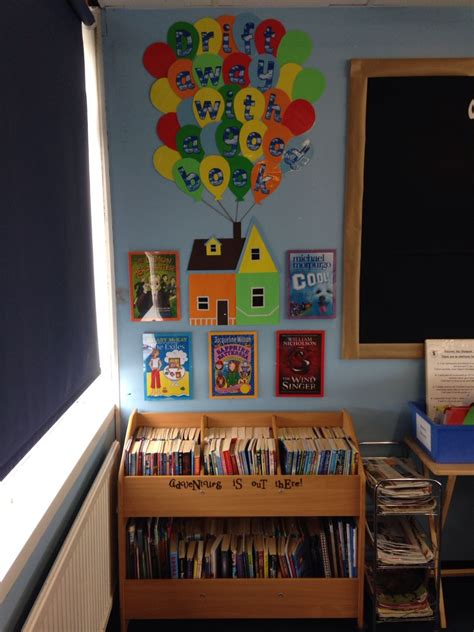 pixar classroom door disney pixar up themed book corner kassi s classroom book corners disney