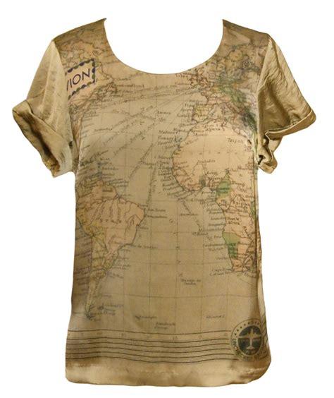 Tshirt World Map things worldmap t shirt brown l born2style fashion