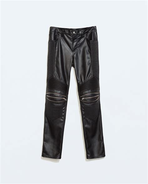 zara synthetic leather trousers with zara synthetic leather trousers with zips in black for lyst