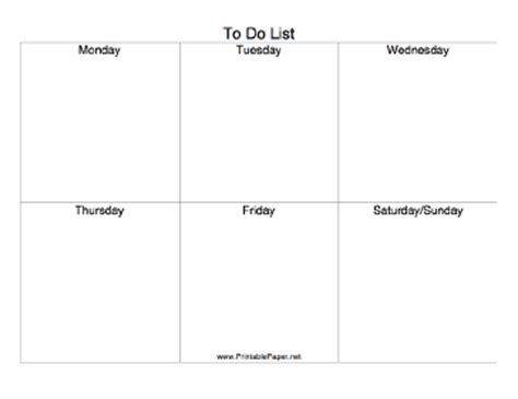printable to do list by day printable six day to do list