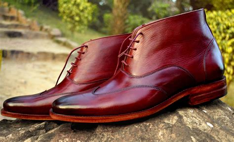 Handcrafted Leather Shoes - goodyear welted wingtip oxford boot ibex handcrafted