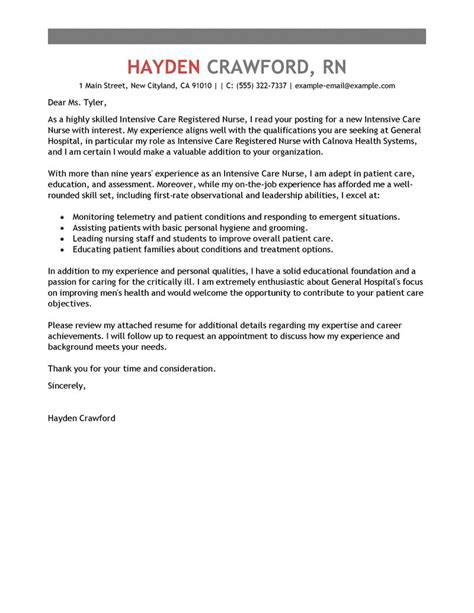 cover letter icu best intensive care cover letter exles livecareer
