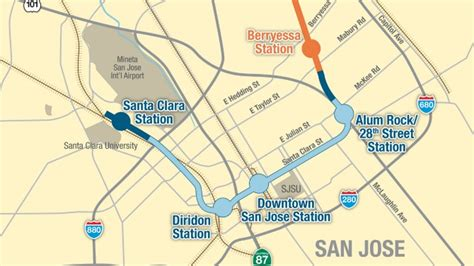 san jose trolley map bart phase ii alignment map