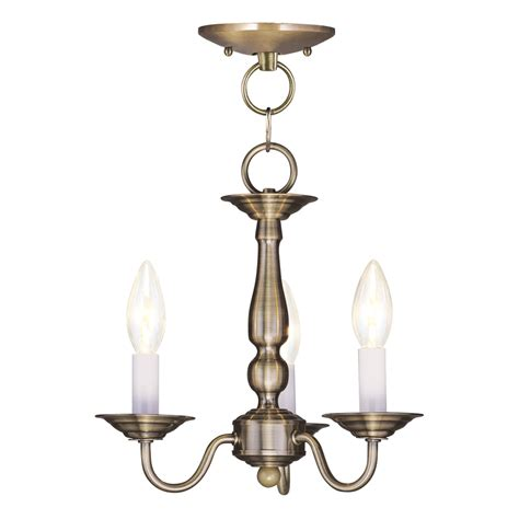 Shop Livex Lighting Williamsburg 11 In 3 Light Antique Williamsburg Brass Chandelier