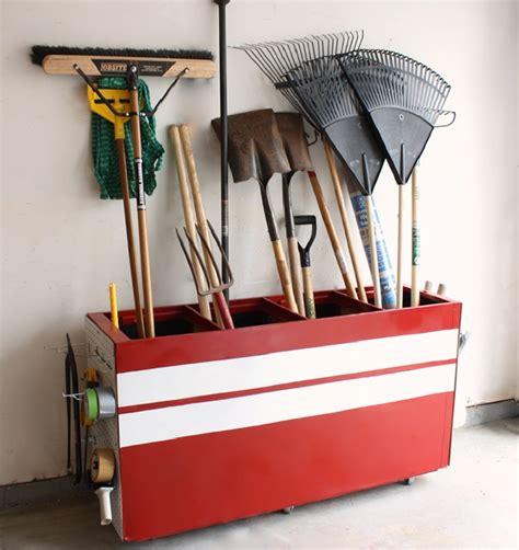 shovel and rake storage cabinet 61 easy diy garage storage organization projects