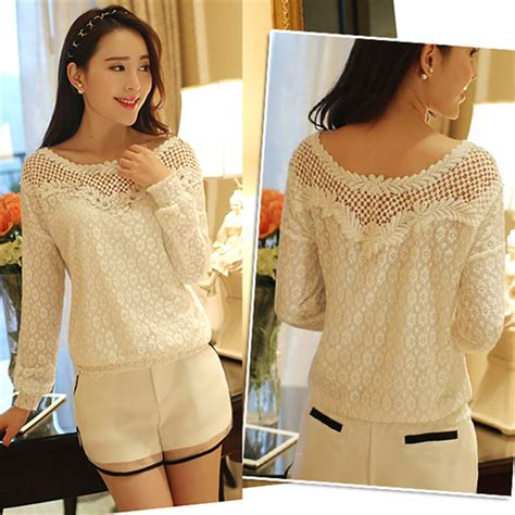 Korean Style Blus With Necklace Sleeve 1 zanzea 2017 autumn casual lace blouse tops hollow out crochet beading shirt