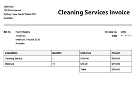 invoice template cleaning services free invoice templates invoices