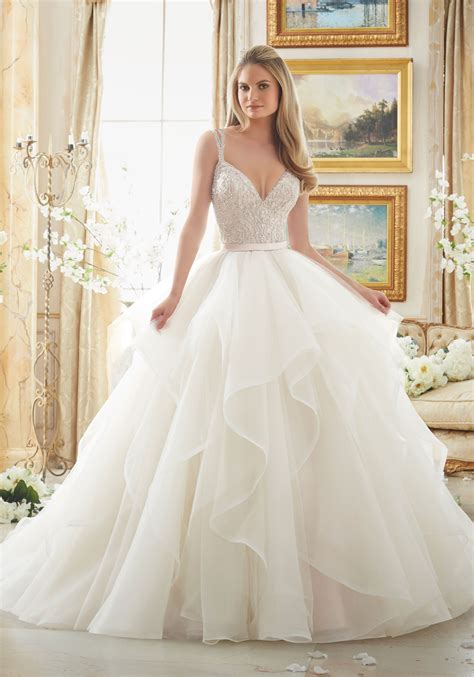 Beaded Wedding Gown beaded bodice on flounced tulle and organza style 2887