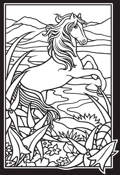 stained glass coloring book horses stained glass coloring book coloring pages