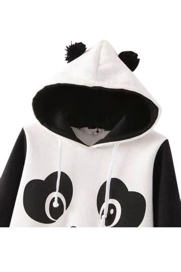 Teddies 6435 Black black panda printed fleece casual hoodie pink