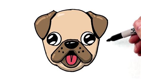 draw  cute dog emoji pug  beginners step
