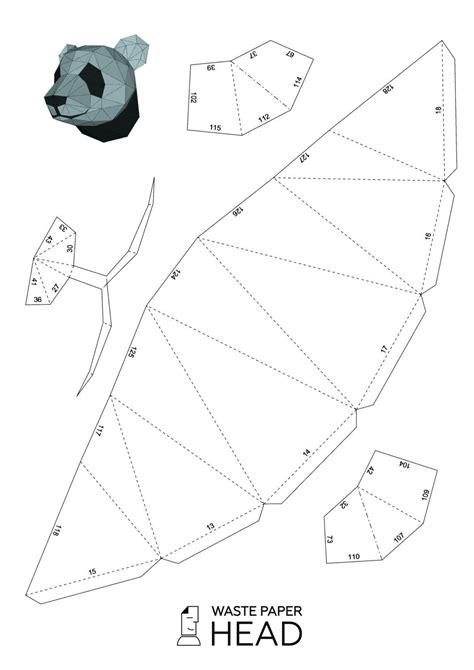 01 Papercraft Panda Head Printable Digital Template Paper Folding Pinterest Paper Peterdahmen De Templates Pdf