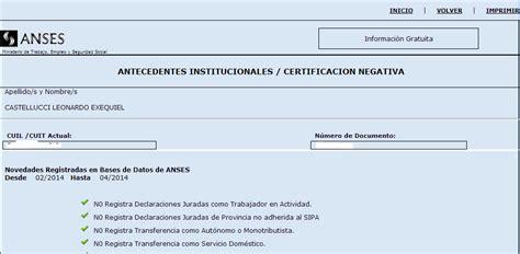 servicioswww anses gov ar c 243 mo imprimir certificaci 243 n negativa de anses info